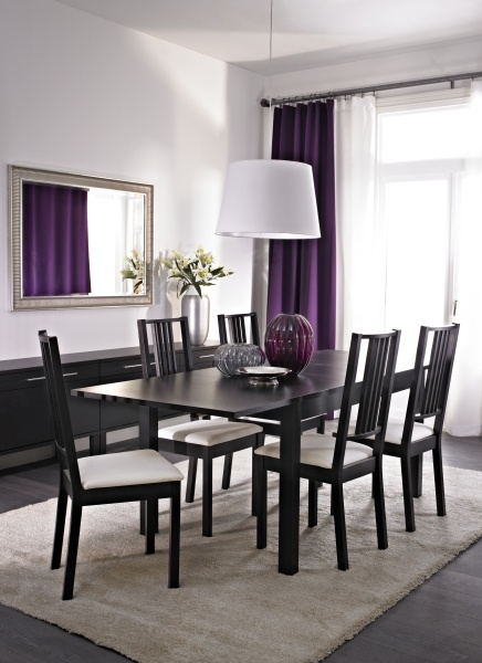 Bjursta b rje table and 4 chairs brown black gobo for Purple dining room