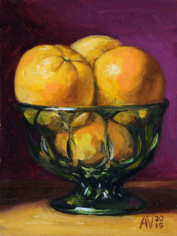 Cocina pintura naranjas en un recipiente de vidrio verde for Cocina separada por un techo de vidrio