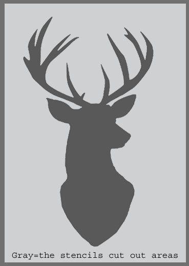 Stag head silhouette stencil deer head decor painting - Tete de chevreuil decoration ...