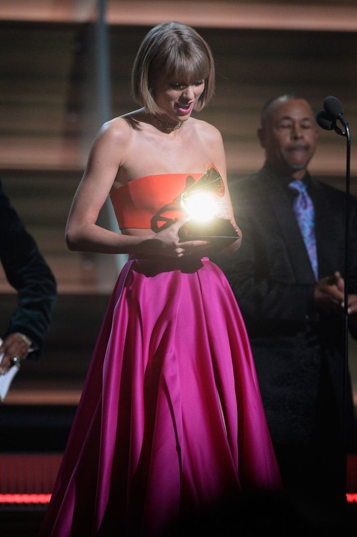 Taylor Swift accepts the Album Of The Year GRAMMY on the 58th Annual GRAMMY Awards on Feb. 15 in Los Angeles