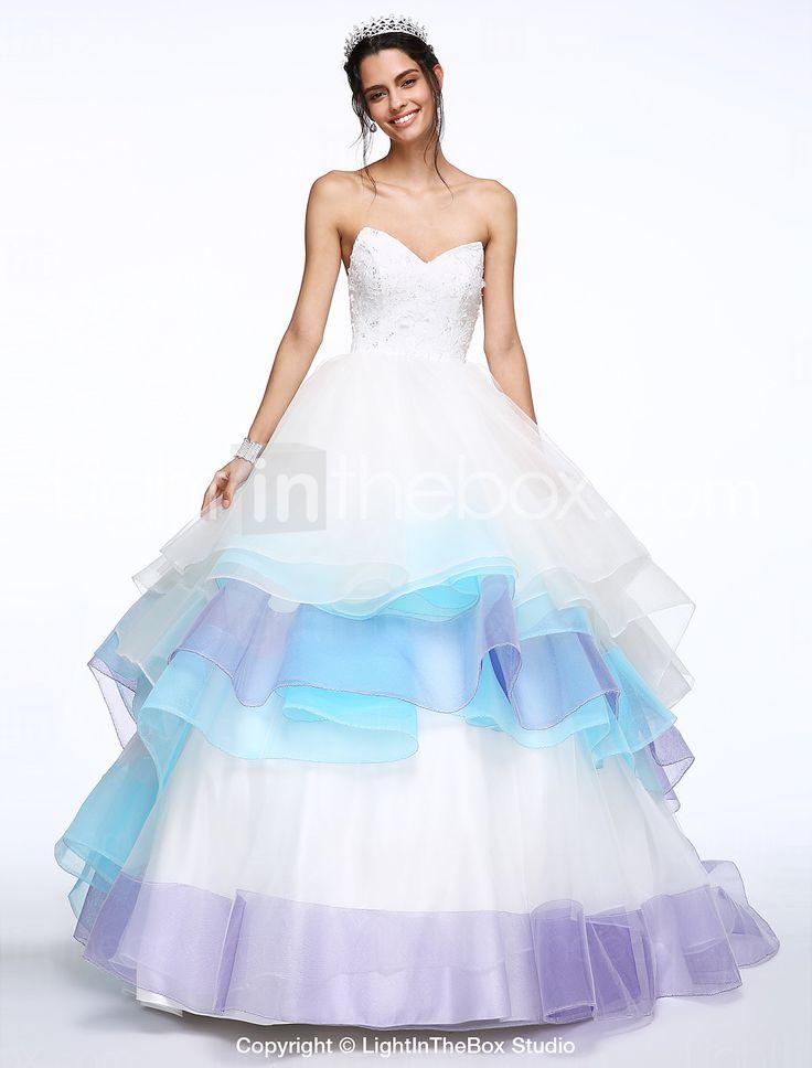 Lanting Bride® Linea-A Abito da sposa Strascico da cappella A cuore Di pizzo / Organza con Perline / A strati del 4412211 2017 a €166.59