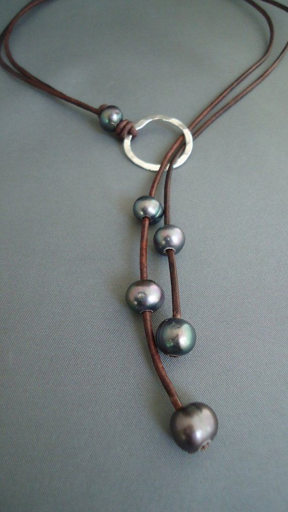 Leather and Black Pearls Hammered Sterling Silver Lariat