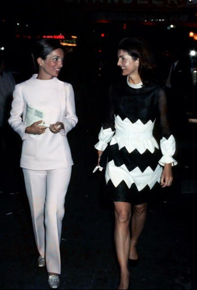 Jackie kennedy and her sister. Jackie in the chevron dress of course.