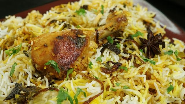 Chicken dum Biryani is the kings of all biryani recipes which is colorful, flavorful and aromatic.For a perfect biryani the meat has to be flavored first and then the flavors oozes out from the meat and is distributed throughout the rice.