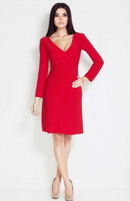 ogniście czerwona sukienka Awama A32