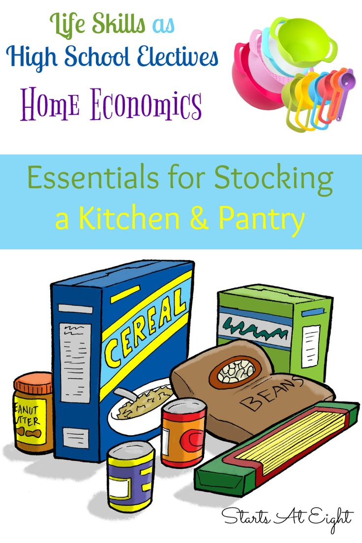 Life Skills as High School Electives: Home Economics - Essentials for Stocking a Kitchen & Pantry from Starts At Eight. Learning the essentials for stocking a kitchen and pantry are essential life skills which can be covered as a Home Economics topic in high school. Includes a FREE Printable Record Keeping List Printable.