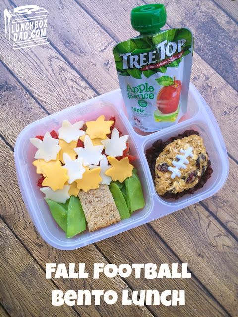 Fall Football Applesauce Bento Lunch with Tree Top Apple Sauce! #ad