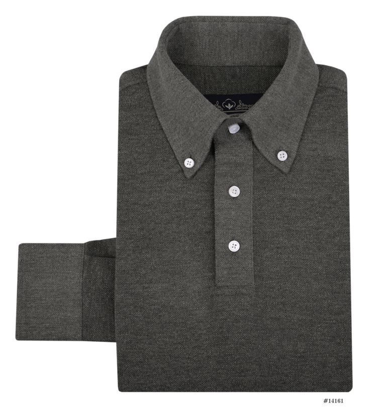 Luxire casual wear constructed in Dark Heather Grey Mid Pique: http://custom.luxire.com/products/dark_heather_grey_mid_pique Consists of button down collar and single button cuffs.