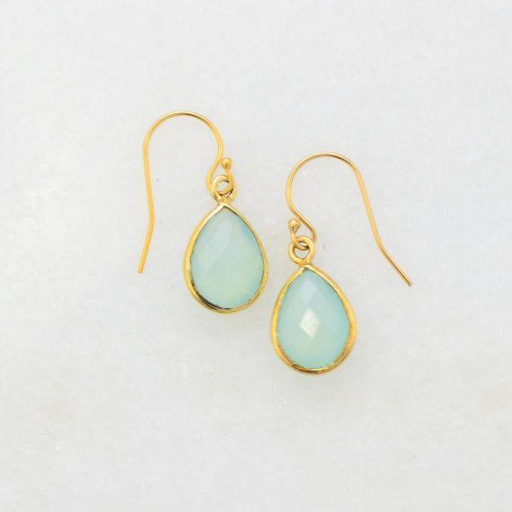 Aqua Chacedony Earring - Small Delicate Earring - Minimal Earring - Small Cute Earring - Dangle and Drop Earring - Dainty Earring