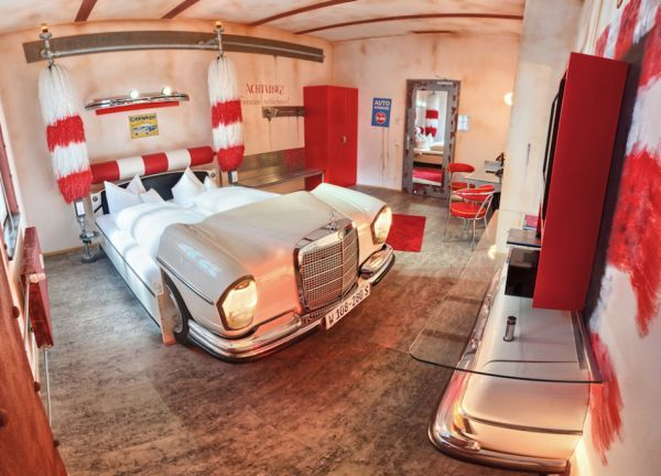 In a spin a car wash themed suite inside the hotel in germany