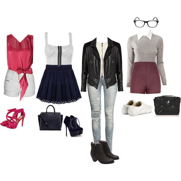 """""""The girlie girl, the not so innocent girl, the bad girl, and the nerd"""" by smilesfalcon on Polyvore"""