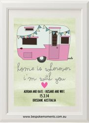 Pink Vintage Caravan Wedding Print by Bespoke Moments. Worldwide Shipping Available.