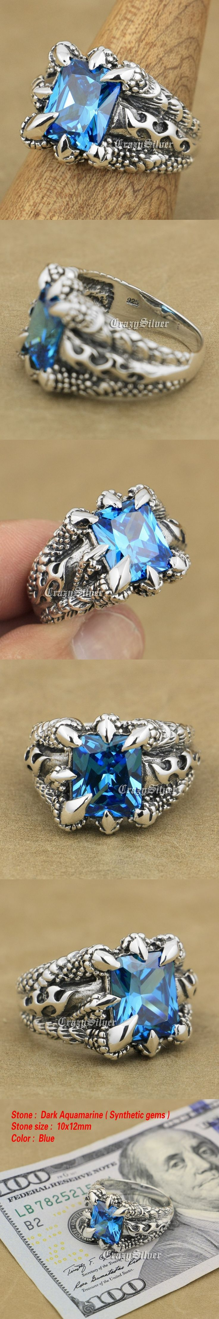 LINSION Huge Blue CZ 925 Sterling Silver Dragon Claw Mens Boys Biker Rock Punk Ring 8T102 USA