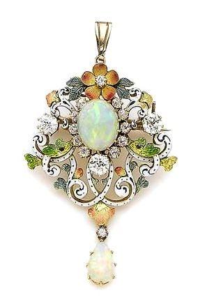 An enamel, opal, and diamond brooch/pendant,
