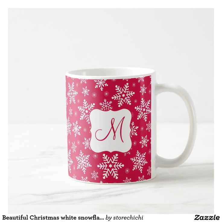 Beautiful Christmas white snowflakes on red