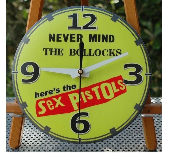 Sex Pistols vintage wall clock with silent movement by Magnetico. Made in New Zealand.
