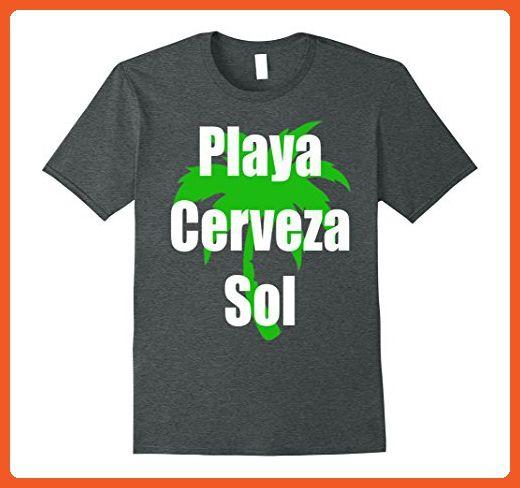Mens Playa Cerveza Sol T-Shirt Camiseta Beach Bear Sun in Spanish XL Dark Heather - Animal shirts (*Partner-Link)