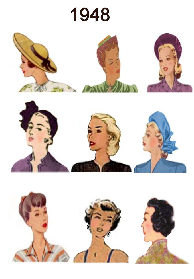 Each of these hat thumbnails will enlarge into an A4 page or more of images of hairstyles and hats for the individual years of 1946, 1947, 1948 and 1949.