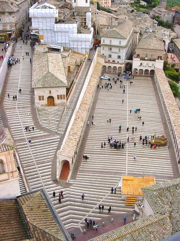 Ramped plaza in front of Basilica di San Francesco, Assisi, Italy