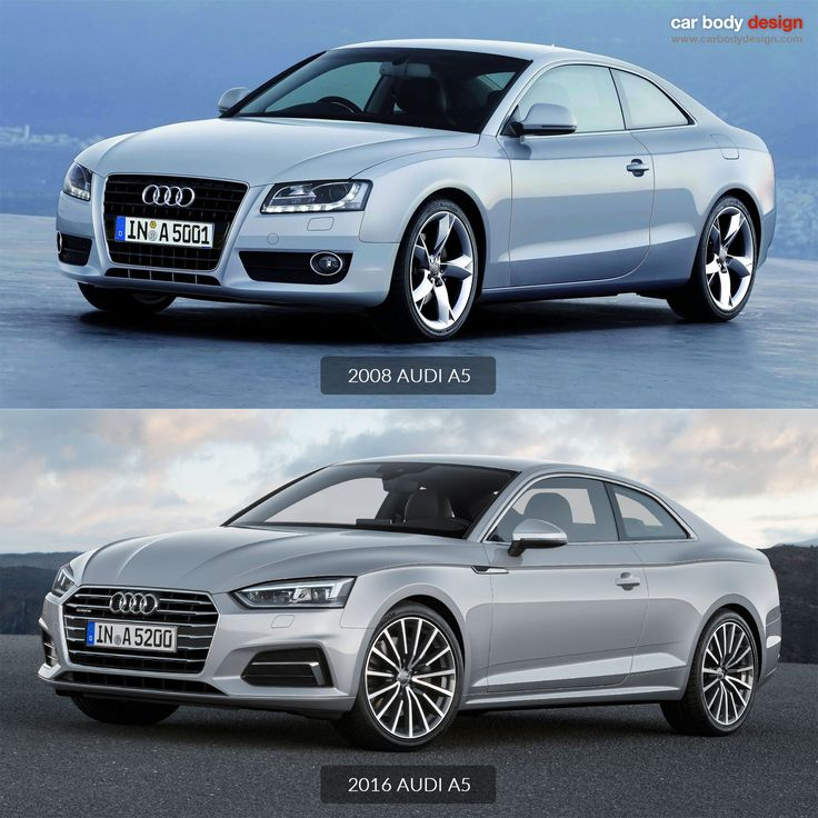 The new Audi A5 Coupé compared to the original 2008 model - check the gallery at http://www.carbodydesign.com/gallery/2016/06/new-audi-a5-coupe-the-design/