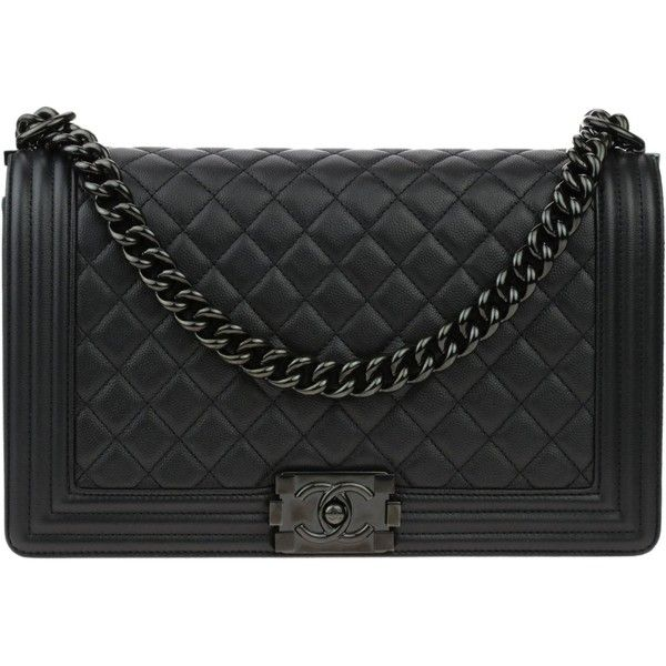 43ddbf1b1681a3 Pre-owned Chanel So Black Quilted Caviar New Medium Boy Flap Bag ($6,250) ❤  liked on Polyvore featuring bags, handbags, genuine leather purse, leather  ...