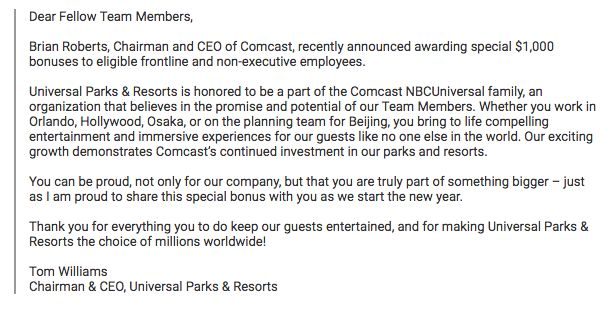 Some Universal Parks & Resorts Employees Will Be Receiving a $1,000 Bonus