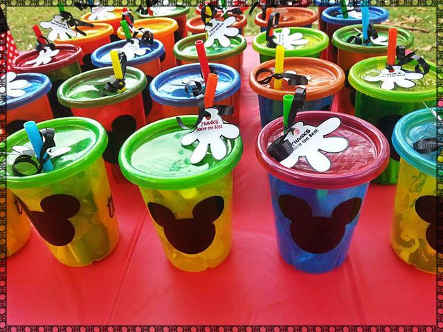 Cute favor cups at a Mickey Mouse party.  See more party ideas at CatchMyParty.com.  #mickeymouse #partyideas