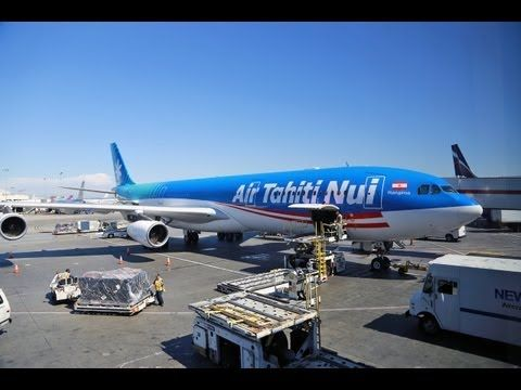 Air Tahiti Nui airlines flight from Los Angeles to Papeete, video