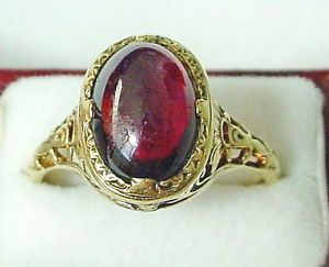 VINTAGE ART NOUVEAU CABOCHAN GARNET AND GOLD RING ORNATE SETTING MARKED  | eBay