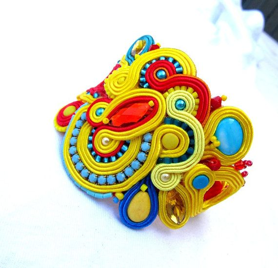 Colorful Cuff Embroidered Bracelet Soutache by IncrediblesTN, $109.00