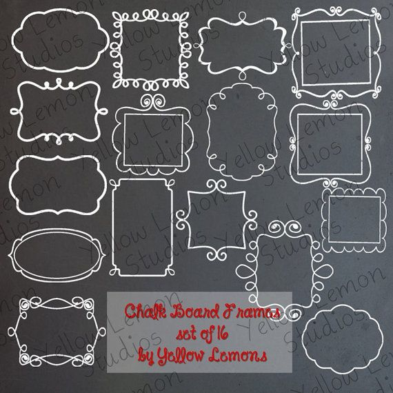 INSTANT DOWNLOAD Chalk Board Frames PNG by YellowLemonStudios, $3.25