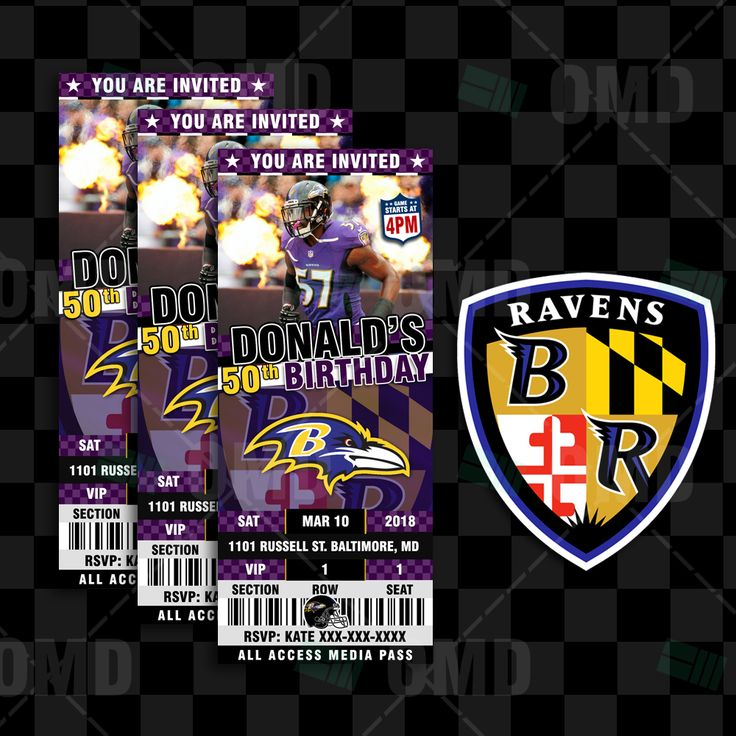 Baltimore Ravens Ticket Style Sports Party Invitations