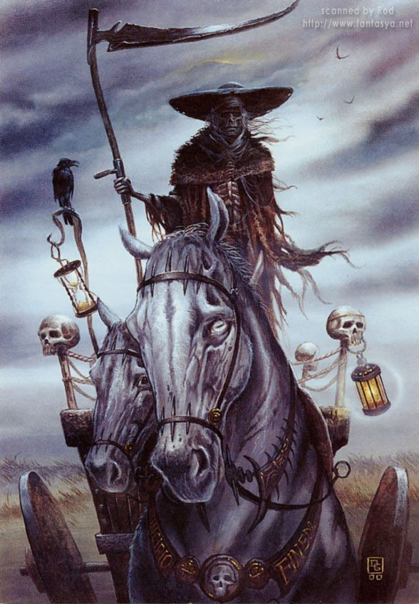 Ankou- Breton myth: the personification of death. He appears as a man or skeleton wearing a cloak, big hat and wielding a scythe. According to some, he was the first child of Adam and Eve. He drives a black coach that are pulled by four black horses. He collects the dead as he rides.
