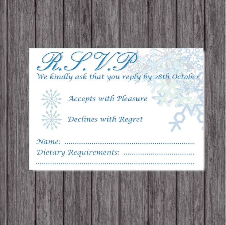 RSVP Wedding Cards, Winter Wedding by LoobyDooLetters on Etsy