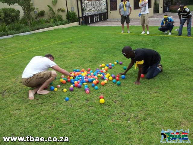 Blindfolded minefield team building exercise expro gulf - Team building swimming pool games ...