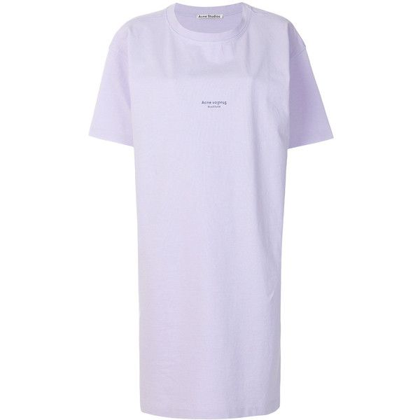 Acne Studios Logo Detail T-Shirt Dress (12,545 PHP) ❤ liked on Polyvore featuring dresses, pink, pink t shirt dress, logo dress, cotton tee shirt dress, tee dress and tee shirt dress