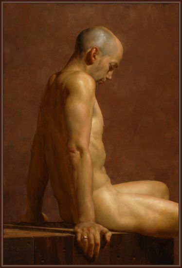 Artist: Jacob Collins {contemporary figurative discreet nude male human body man profile posterior back painting #NSFW}
