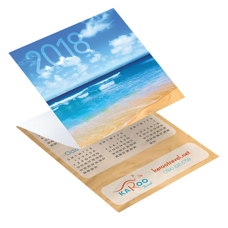 Life's a beach! Our mail-friendly, promotional tri-fold calendars make your advertising efforts a cinch.  Simple, serene, and oh-so-tropical, this beach-themed promotional calendar is perfect for travel companies, beach-themed businesses, or any land-locked ocean dreamer. Add your colorful logo on the bottom to make this tri-fold calendar design really pop.