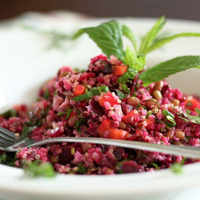 Mung beans, Beets and Quinoa Salad