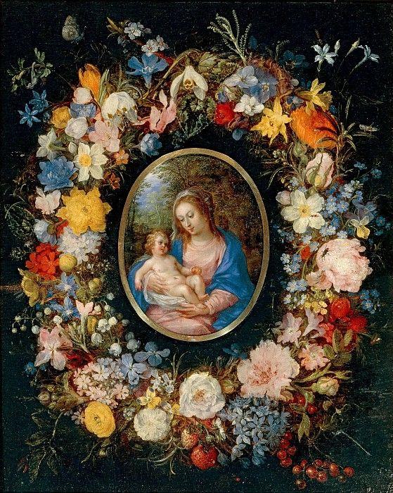 Мадонна с Младенцем в цветочной гирлянде (фигуры Хендрика I ван Балена). Ян Брейгель Старший