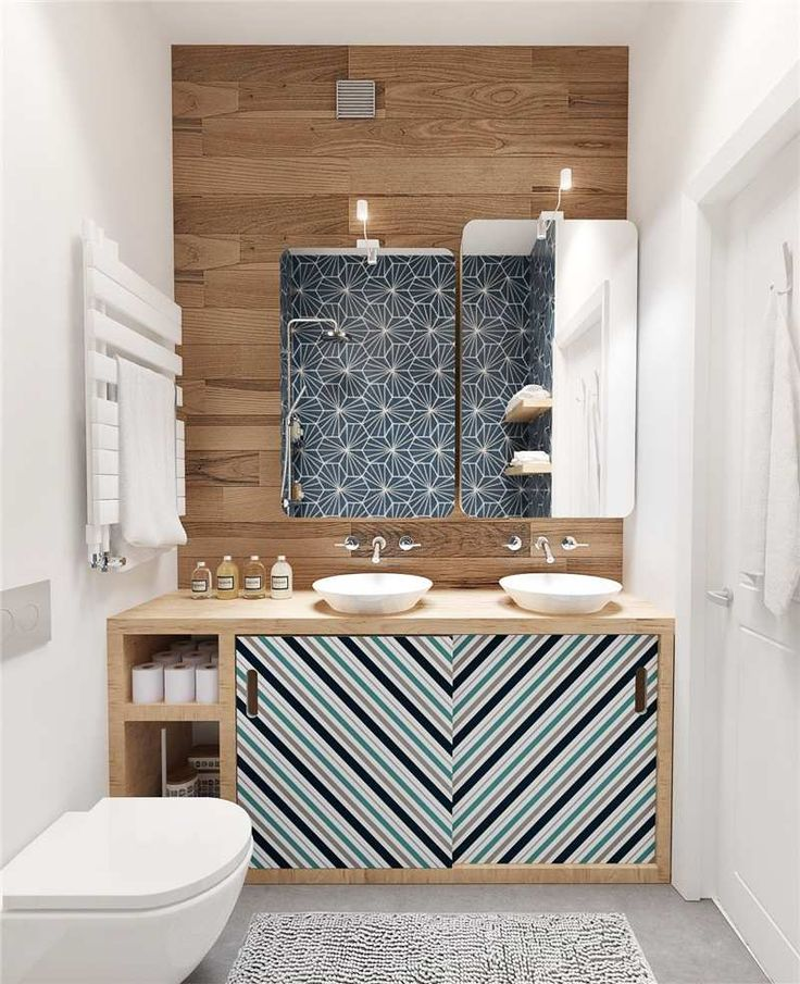 lambris bois, vasques à poser, meuble de rangement design et miroirs avec appliques LED