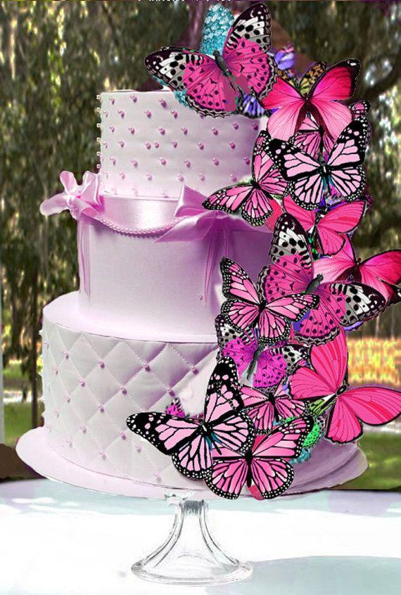 Torta de mariposas rosas comestibles por NaturallyGiftedNY en Etsy