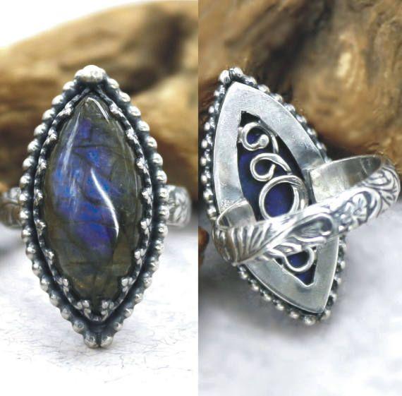 Antique Ring Labradorite Ring Art Deco Ring by SilverJewelryElena