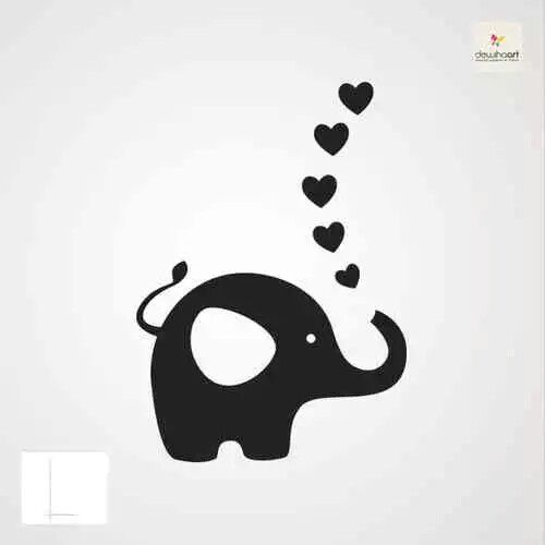 Elephant silhouette. Nice ideal for wall decor, possibly flowers rather than hearts