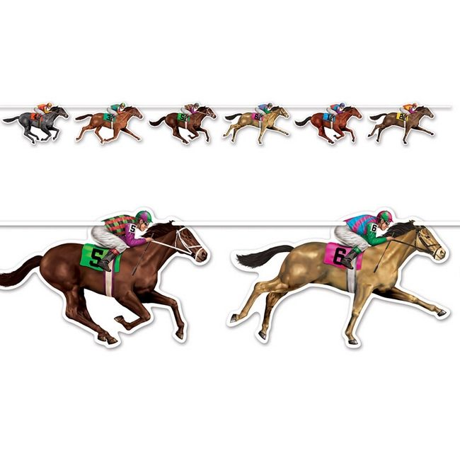 Racehorse Party Streamer.  Get ready for the Kentucky Derby by deorating your home with this colorful streamer featuring horses and jockeys. 6' long. See at Horse and Hound.