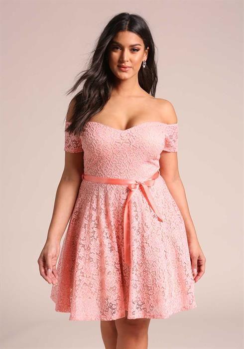 Plus Size Flared Floral Lace Off Shoulder Dress