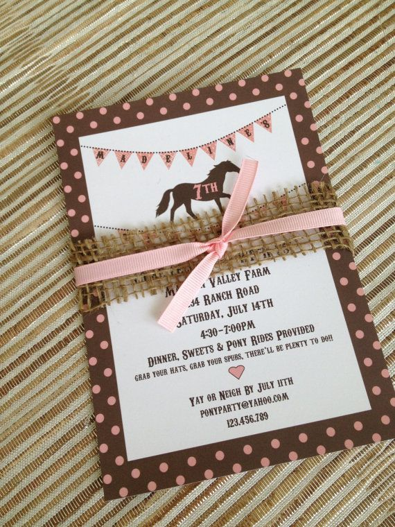 Caitlyn's 3rd party ideas - Pony Party Invitation Vintage Style, Shabby Chic