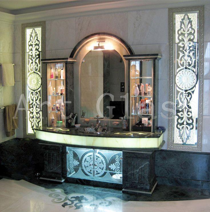 Зеркало для ванной, зеркала с фацетом, узор на зеркале - стильный оригинальный дизайн для ванной комнаты