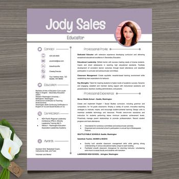 Resume Template w/ Picture + Cover and Reference Letters E