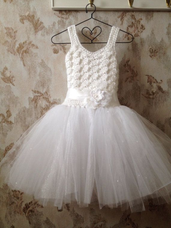 Flower girl tutu dress toddler flower girl dress white by Qt2t